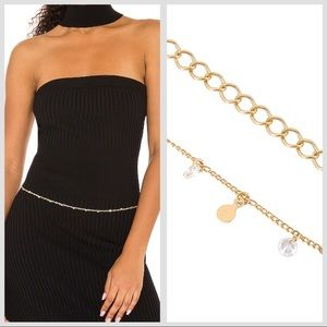 8OR 14K gold crystal dainty chain belt necklace